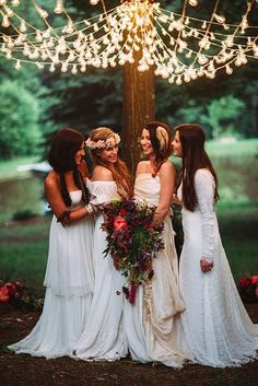 Incredible eggplant bouquet and boho bridal party. Brides: Bohemian Wedding Inspiration Shoot in a Woodland Oasis Photographer: Veronica Varos Chic Wedding, Wedding Styles, Wedding Gowns, Dream Wedding, Wedding Shoot, Wedding Ideas, Wedding Details, Bohemian Wedding Inspiration, Bohemian Bride