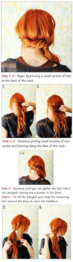 Tutorial for cute side pony.  #hair #redhair #fall #tutorial