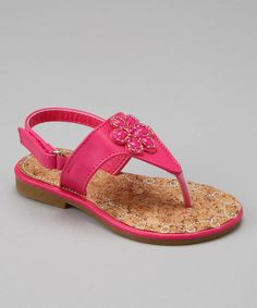 Take a look at this Fuchsia Floral Jewel Sandal by Lucky Top on today! Jeweled Sandals, Little Girls, Take That, Jewels, Floral, Top, Shoes, Fashion, Moda
