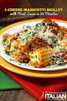 3 Cheese Manicotti Skillet with Meat Sauce in 30 Minutes From @SlowRoasted