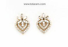 Diamond Earrings for Women in 18K Gold - DER837 - Indian Jewelry from Totaram Jewelers