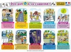 """Affiche pour la Sécurité Routière """"Être piéton, ça s'apprend !"""" - www.playbac-editions-speciales.fr"""