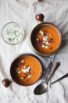 Roasted Butternut Squash and Sweet Potato Soup  Topped with Bacon and Gorgonzola