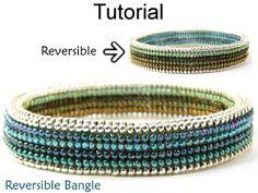 Beaded Reversible Bangle Bracelet Downloadable PDF Beading Pattern Tutorial Instructions | Simple Bead Patterns