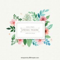 Watercolor spring frame with leaves and flowers