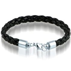 Braided Black Leather Mens Bracelet 8 MM 8 1/2 Inches with Lobster Stainless Steel Clasp, $10.95