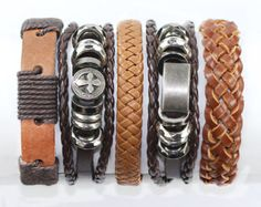 Leather Bracelets for Men 6 Piece Set for by BraceletStreetUSA