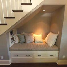 under stairs reading nook. Man my home is gonna be filled with reading nooks all… under stairs reading nook. Space Under Stairs, Under Staircase Ideas, Under Basement Stairs, Cupboard Under The Stairs, Basement Stairway, Closet Under Stairs, Sweet Home, Diy Casa, Cozy Nook