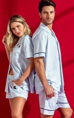 9485 - Cardigan com short - Mixte Pijamas Couple Outfits, Family Outfits, Lingerie Outfits, Women Lingerie, Lingerie Bonita, Pijamas Women, Couple Pajamas, Womens Pjs, Mens Sleepwear