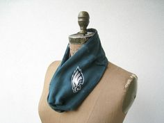 Philadelphia Eagles T Shirt Infinity Scarf / Upcycled / Recycled / NFL Football / Green White Black / Winter / Fall / Cotton / Soft / ohzie on Etsy, $25.00