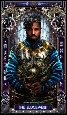 """petite-madame: """" Black Panther Tarot (Part - 2018 My take on The Black Panther movie characters. Part 1 is available HERE. Available as prints at my shop. """" Someone needs to buy me the WHOLE. Marvel Comic Universe, Marvel Dc Comics, Marvel Heroes, Black Panther Art, Black Panther Marvel, Black Panther Villain, Black Love Art, Black Is Beautiful, Captain America"""