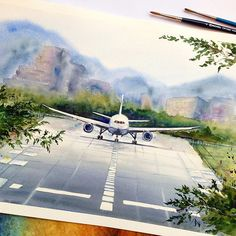 """What song makes your day today? Mine – """"Wish I could fly"""" by Roxette… - Modern Airplane Sketch, Airplane Drawing, Abstract Watercolor, Watercolor And Ink, Watercolor Paintings, Drawing Sketches, Art Drawings, Airplane Painting, Water Art"""