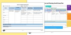 Small Group Objective Led Planning Template