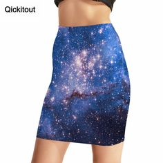Qickitout Package Hip Skirt 2016 Fashion hot style Women's Sexy 3D painting Skirts High Waist Blue starry sky Printing Skirt