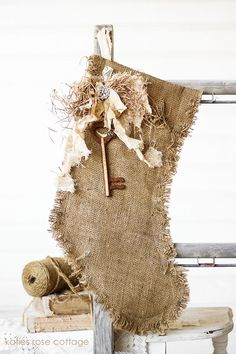Christmas Burlap Stocking......Be cool to use this same idea with a pillow