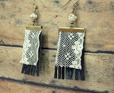 Leather and Lace Dangle Earrings Gypsy by GallimaufryClothing, $16.00
