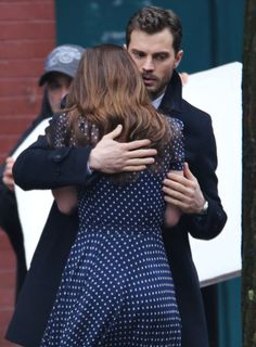 Jamie Dornan and Dakota Johnson as Christian Grey and Anastasia Steele filming…