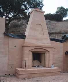 rammed earth fireplace