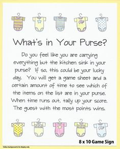 What's In Your Purse Baby Shower Game Onesie Baby
