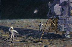 """LONE STAR by Alan Bean LIMITED EDITION CANVAS Image size: 33""""w x 22""""h."""