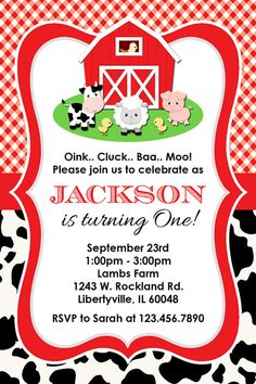 Farm Birthday Party Invitation, Red Barn, Personalized, Printable or Printed Invitations Cow Birthday, Farm Animal Birthday, Birthday Ideas, Cowgirl Birthday, Farm Party Invitations, Candy Bar Party, Barnyard Party, Birthday Parties, Baa Baa