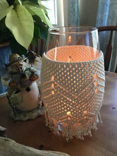 Macrame lantern or vase. Cotton string on glass. Detailed design that adds beauty to any room. Macrame Wall Hanging Patterns, Macrame Patterns, Macrame Bag, Micro Macrame, Macrame Design, Macrame Projects, Vase, Cotton String, Bottles And Jars