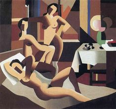 Three nudes in an interior, 1923 by Rene Magritte, Early years. Cubism. nude painting (nu)