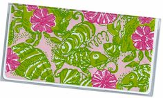 Checkbook Cover  Preppy Pink and Green Chum by rabbitholeonline, $6.25