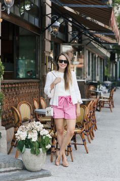 pink tie waist shorts | grace atwood, the stripe Bow Shorts, Tie Waist Shorts, Pink Shorts, Floral Shorts, Spring Summer Fashion, Spring Outfits, Pink Bow Tie, Short Outfits, Grace Atwood