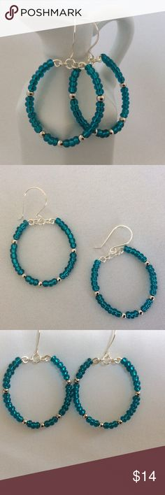 """Blue and Silver Hoop Earrings Blue hoops with silver bead accents. These earrings are about 1 3/4"""" long Becky Barnes Designs Jewelry Earrings"""