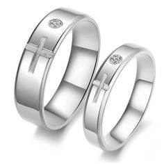 Matching Promise Rings For Him And Her Steel stone couple rings