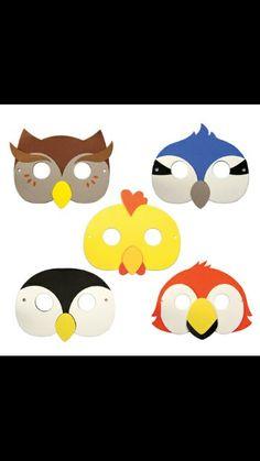 Mascaras pajaros Beak Mask, Bird Masks, Nocturnal Animals, Bird Crafts, Jungle Party, Diy Mask, Drawing For Kids, Puppets, Kids Playing