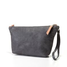 Gray and Pink Leather Clutch by MatkaShop on Etsy, $65.00