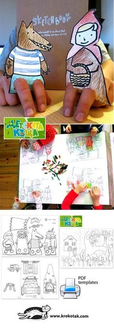 Červená čiapočka Little Red Riding Hood – puppet theatre for small fingers :) Fairy Tale Theme, Fairy Tales, Diy For Kids, Crafts For Kids, Traditional Tales, Finger Puppets, Red Riding Hood, Craft Activities, Children Activities