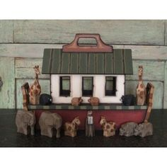 Noah's Ark Collectible - Handmade Wooden Children's Ark & Animals