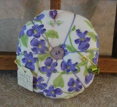Primitive Vintage Violet Napkin Pin Cushion Recycled Textile Pin Keep Sweet Violets by auntiemeowsprims on Etsy