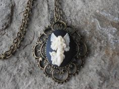 Flying Guardian Angel Cameo Necklace   Bronze Setting Bronze