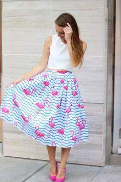 Flamingo Skirt + Crop Top + Pink Heels | It's All Chic To Me