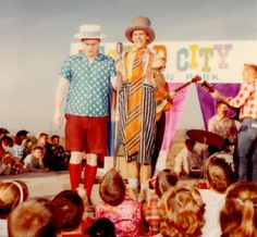 Wal and Lad at Legend City Performing a stage show on Ground Breaking Day, December 1961.