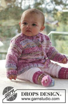 Ensemble bébé et enfant au tricot: Veste et Chaussettes en DROPS Fabel et DROPS Alpaca