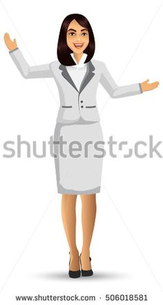 Businesswoman wearing white suits, with standing position or presentation poses, vector illustration