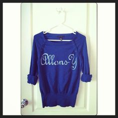 Allons-Y Sweater hand stenciled OOAK upcycled Doctor Who inspired blue and white
