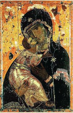 """The Virgin and Child"" is another popular Byzantine subject for painted wood panel icons and mosaics.  Like the image of Jesus, Mary and the Infant Jesus are also shown in an agreed-upon conventional way."