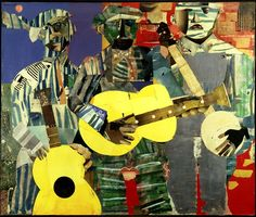Romare Bearden, Three Folk Musicians, Collage of various papers with paint and graphite on canvas. x cm x Anonymous lender © Romare Bearden Foundation / Licensed by VAGA, New York, New York Collages, Collage Artists, Romare Bearden, African American Culture, Famous African American Artists, American History, Native American, Harlem Renaissance, Black Artists