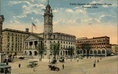 Divided Back Postcard Public Square showing Court House Canton, OH Canton Ohio, Public Square, Louvre, Building, Travel, Viajes, Buildings, Destinations, Traveling