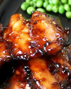 Chicken thighs. Delicious marinade of brown sugar, ketchup, soy sauce, garlic, ginger.