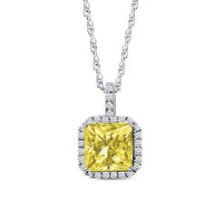 Sterling Silver Radiant Cut Simulated Canary Yellow Diamond Halo Pendant Necklace