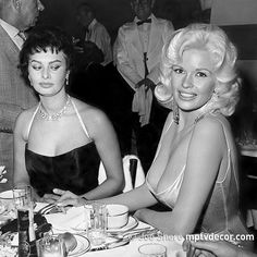 Don't be a hater and #wish #JayneMansfield a happy birthday! #Famous #photo of #SophiaLoren and Jayne Mansfield at #Romanoffs in #BeverlyHills, April 12, 1957. #Photo by #JoeShere. . . . #mptvdecor #bnw #bnwphotography #finearphotography #vintage #1950s #midcenturymodern #decor #wallart #interiordesign #designer #decorator #elledecor @vintage_vogue