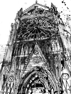 Notre Dame by takmaj.deviantart.com on @deviantART #ink #architecture #watercolor
