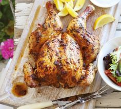 Butterfly a whole chicken by removing the backbone to keep it juicy during grilling, and flavour with a chilli pepper marinade